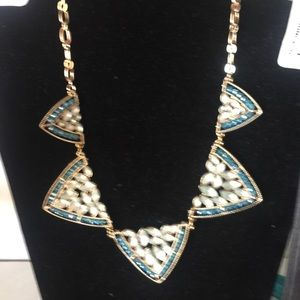 Jewelry - Blue shades and gold necklace & earrings